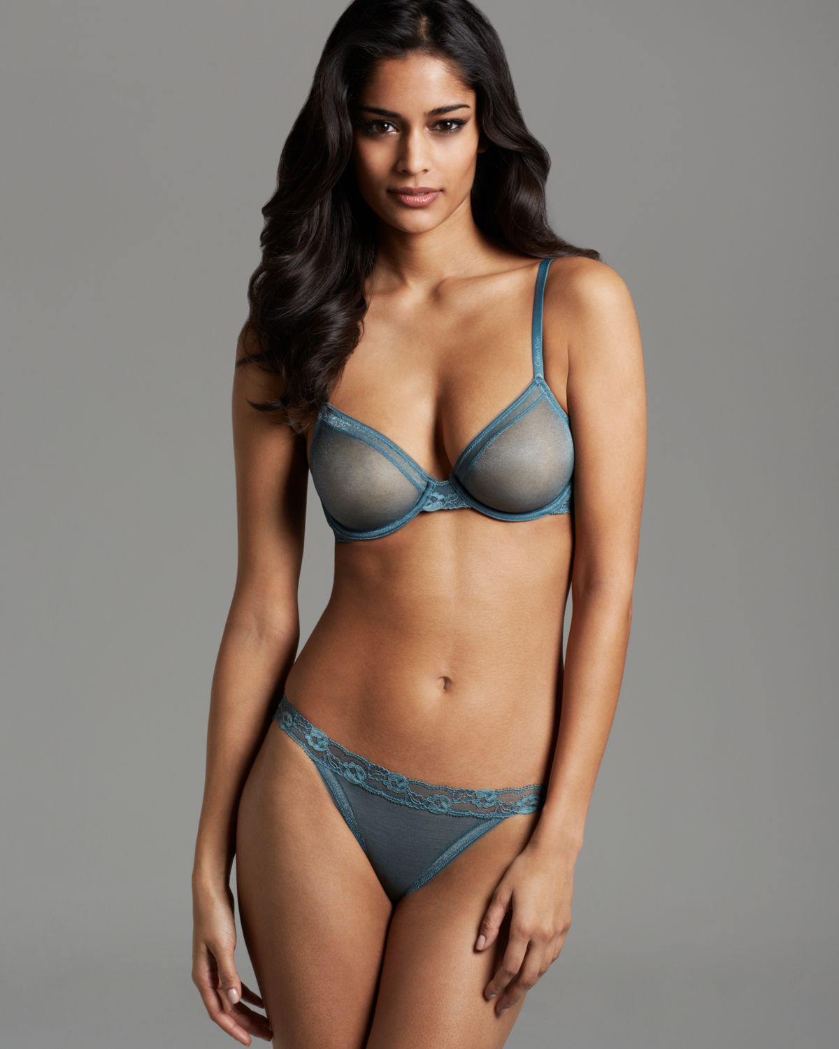 a221f5d153 Lyst - Calvin Klein Bra Luster Bare Unlined Underwire in Blue
