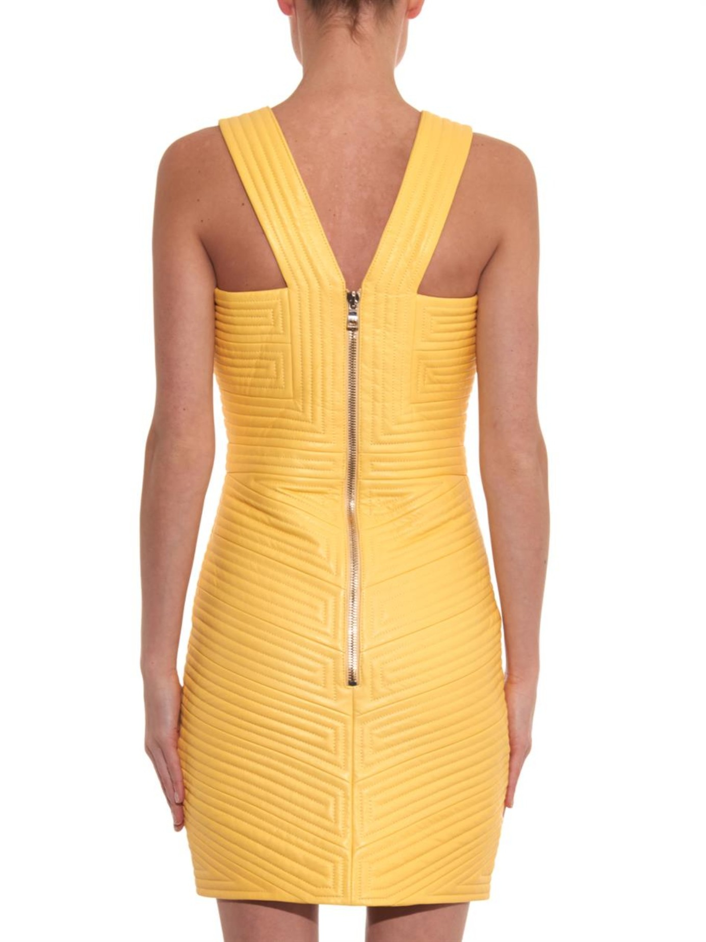 24fdeef8 Balmain Striped-quilt Leather Dress in Yellow - Lyst