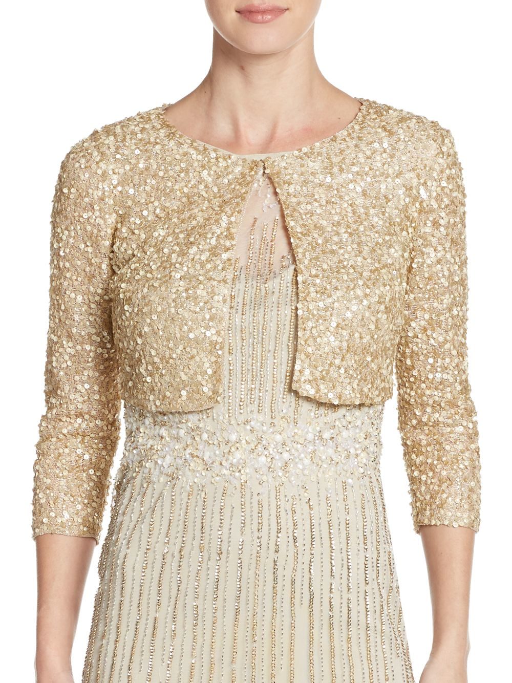 Aidan mattox Metallic Cropped Cardigan in Metallic | Lyst