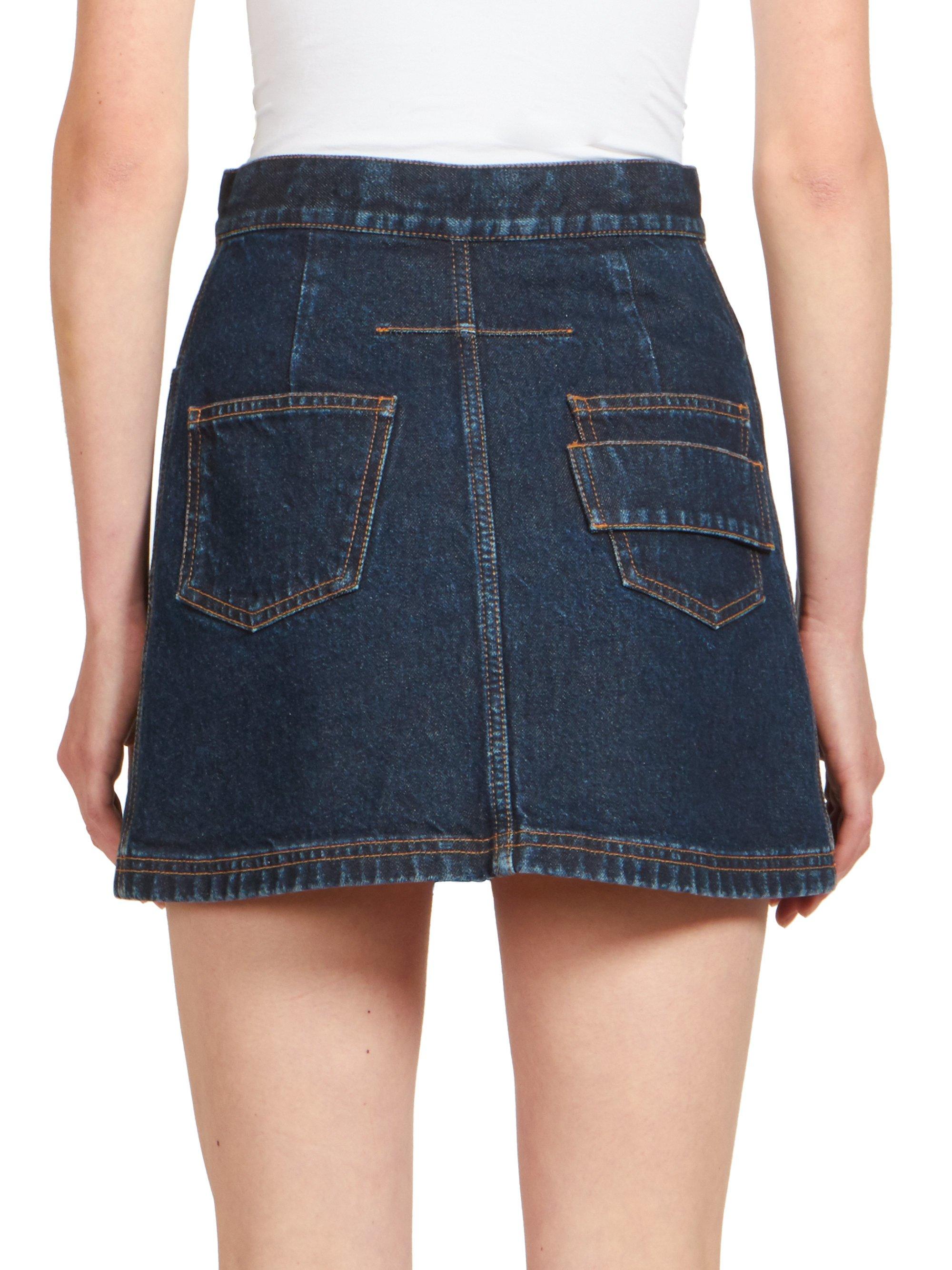 givenchy denim mini skirt in blue lyst