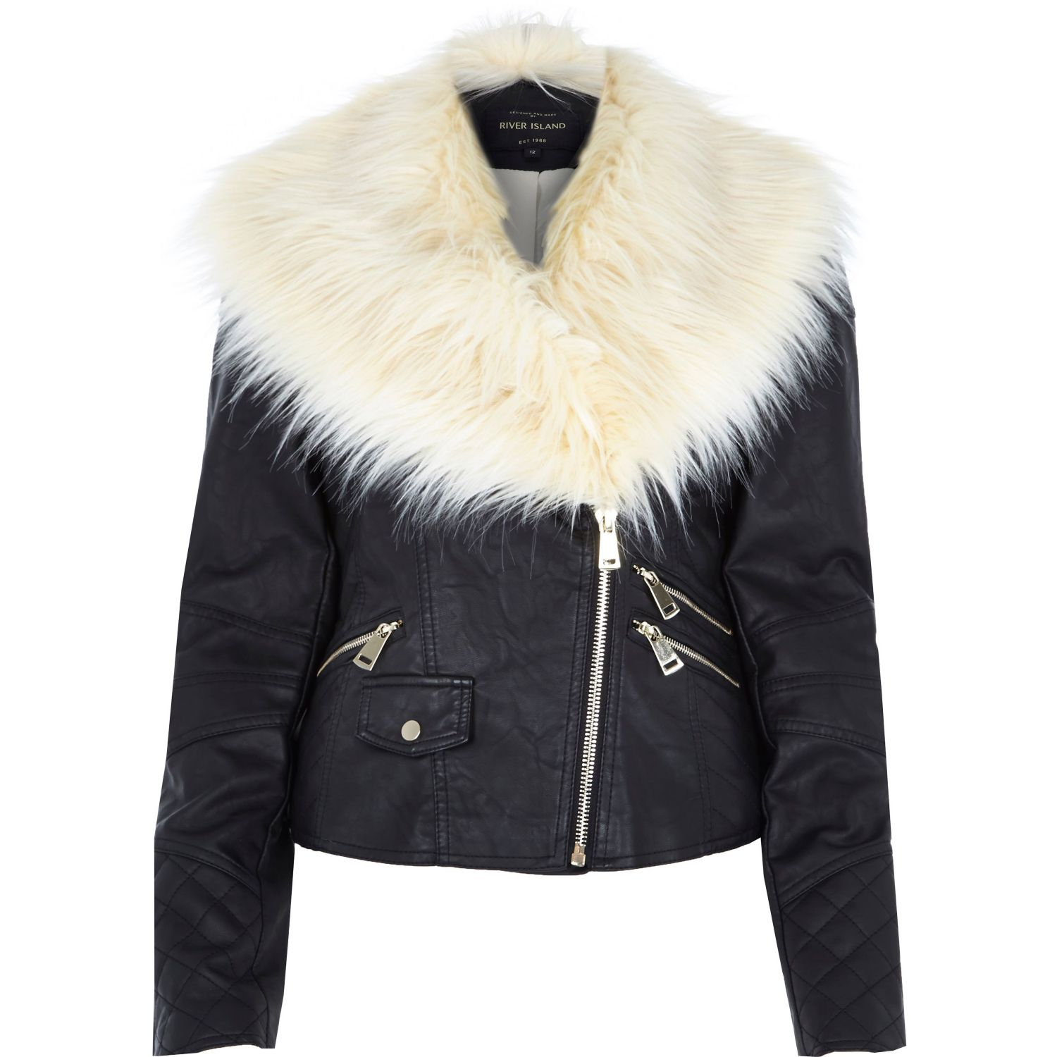 White Fur Collar Leather Jacket