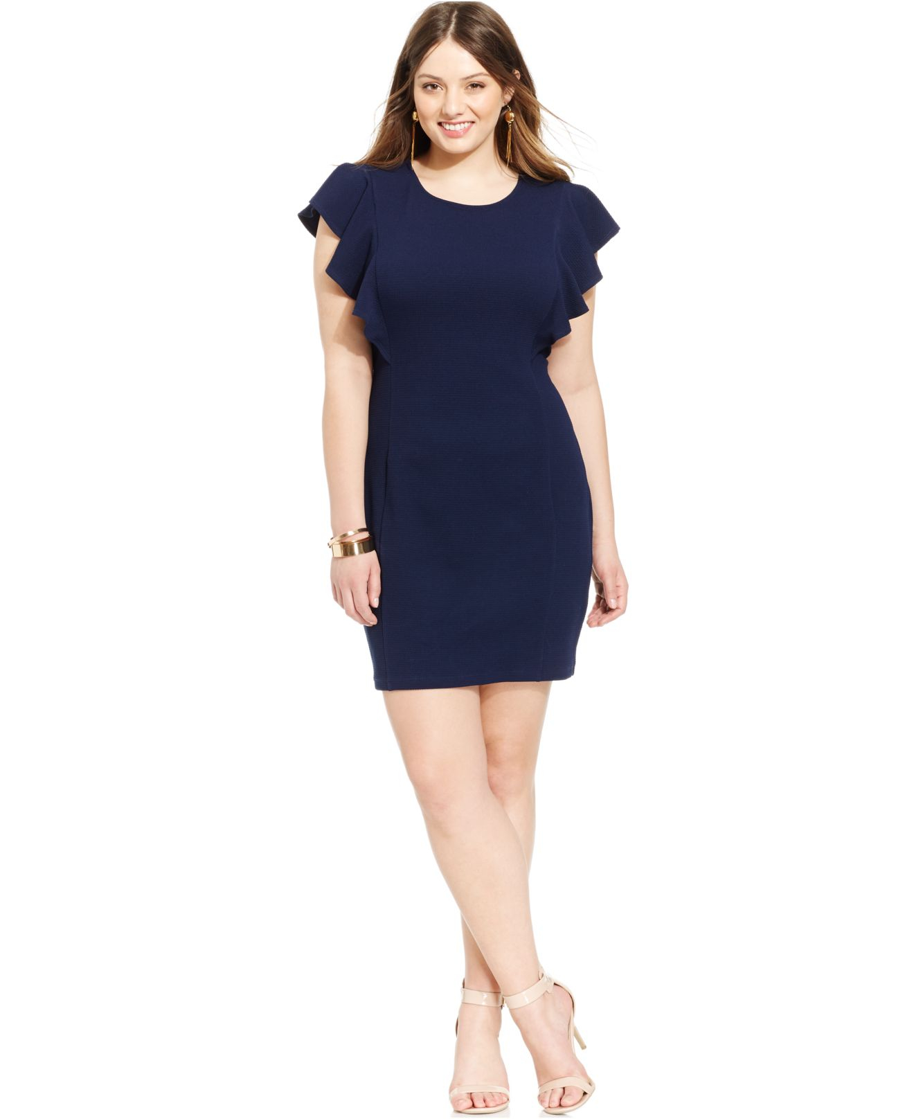 Soprano Plus Size Ruffled Sleeve Sheath Dress In Blue Lyst