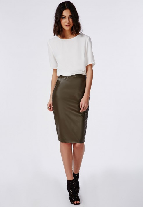 Missguided Mariota Faux Leather Midi Skirt Khaki in Natural | Lyst