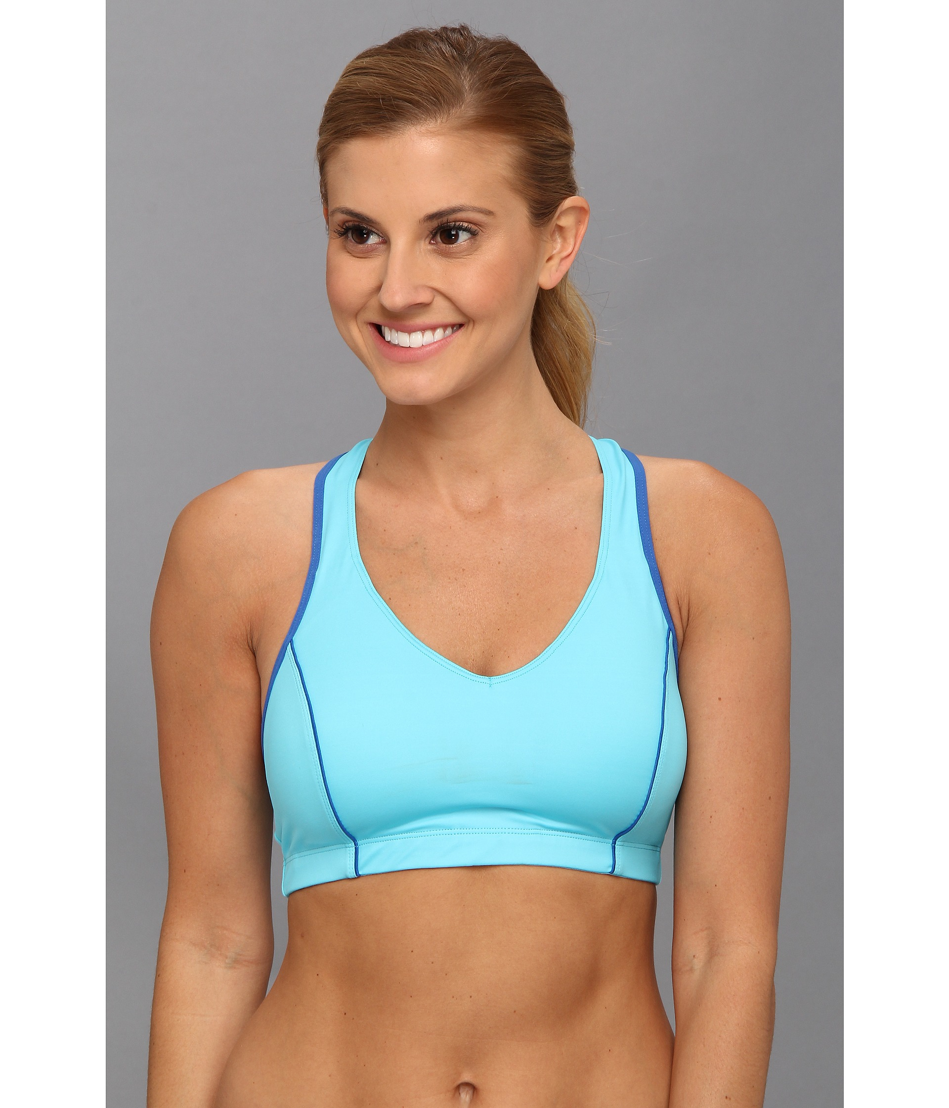 b8ffbcea55 Lyst - Moving Comfort Vixen Sports Bra Cd in Blue