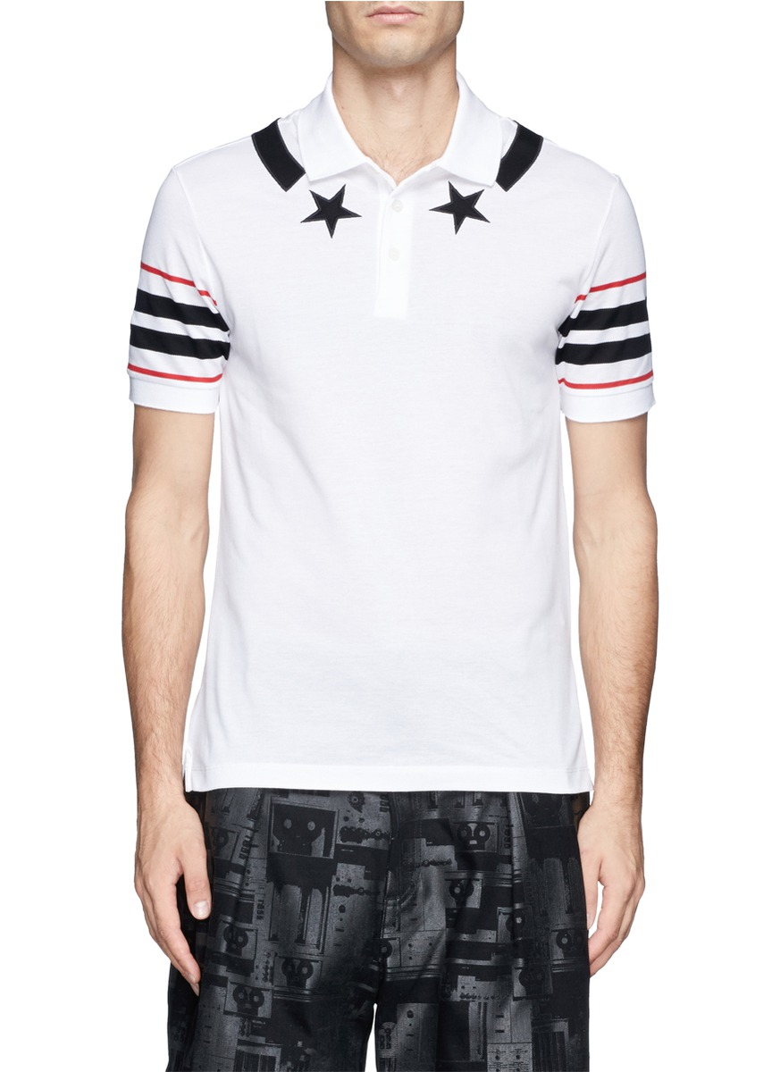 Lyst Givenchy Star Stripe Polo Shirt In White For Men