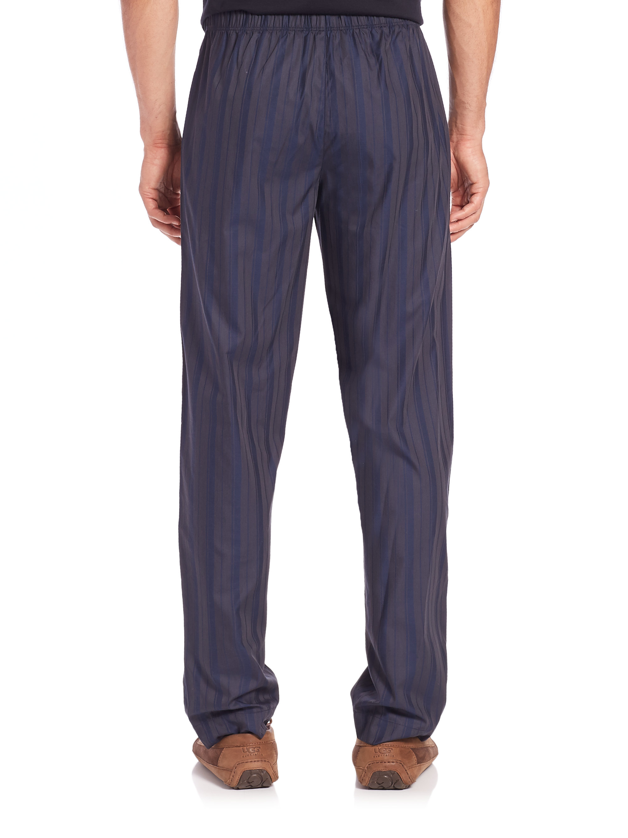 Lyst - Hanro Striped Cotton Lounge Pants In Blue For Men