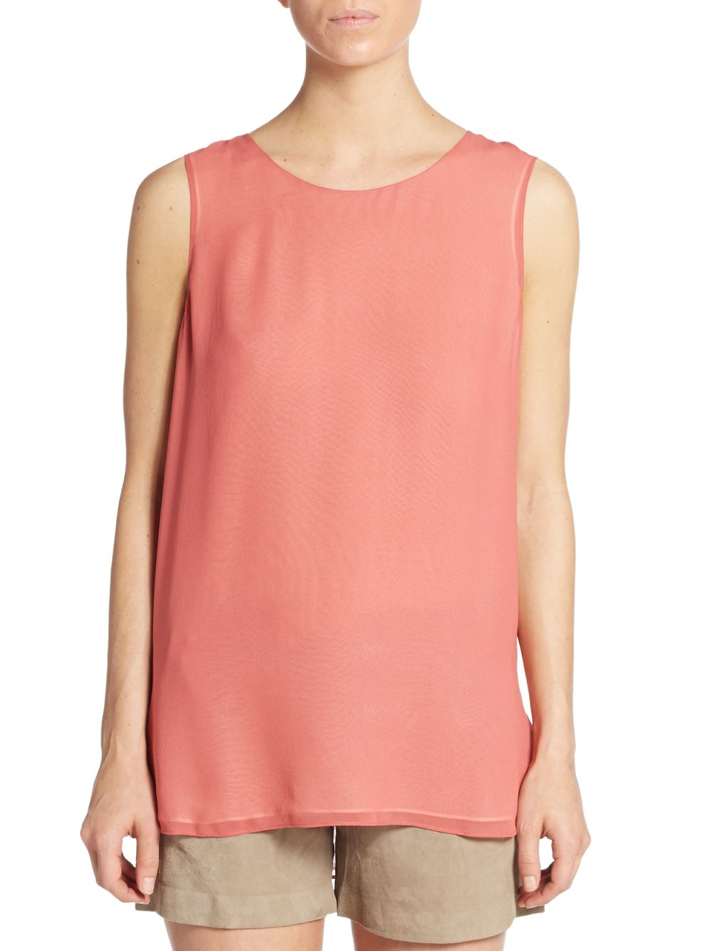 Vince Double-layer Silk Tank Top in Orange - Lyst
