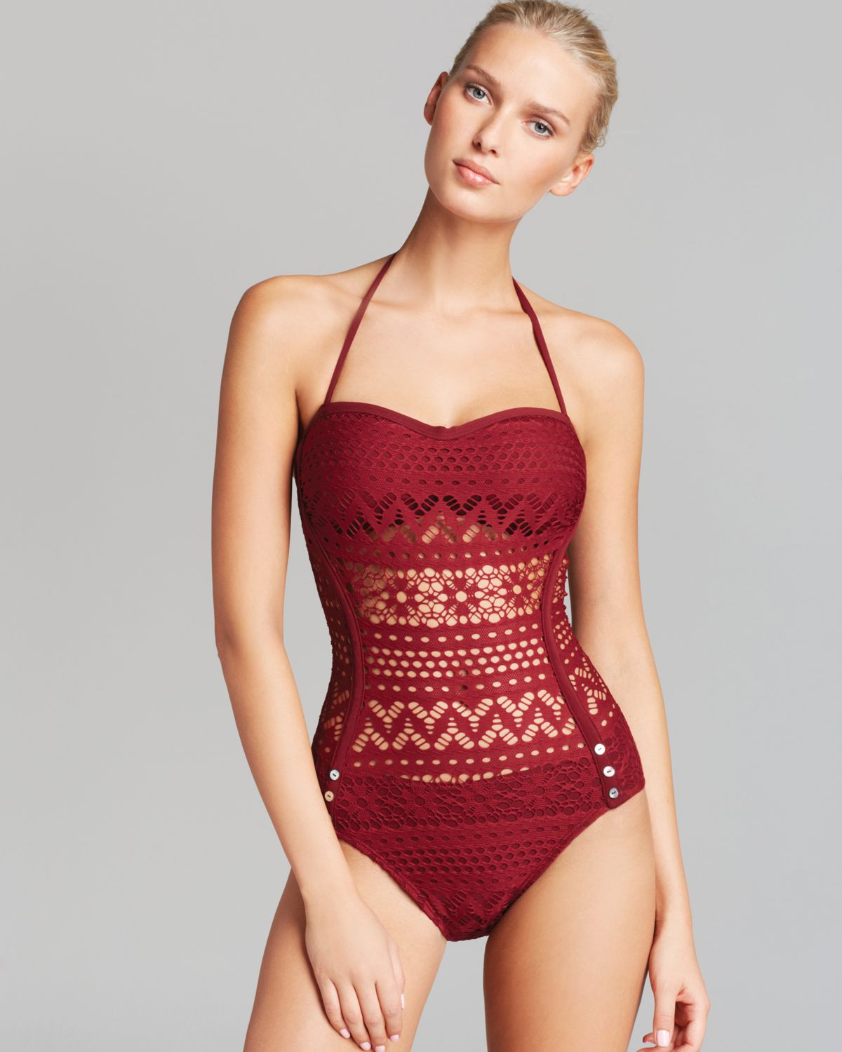 5c3ceeb8b4 Robin Piccone Penelope Bandeau One Piece Swimsuit with Sheer Waist ...