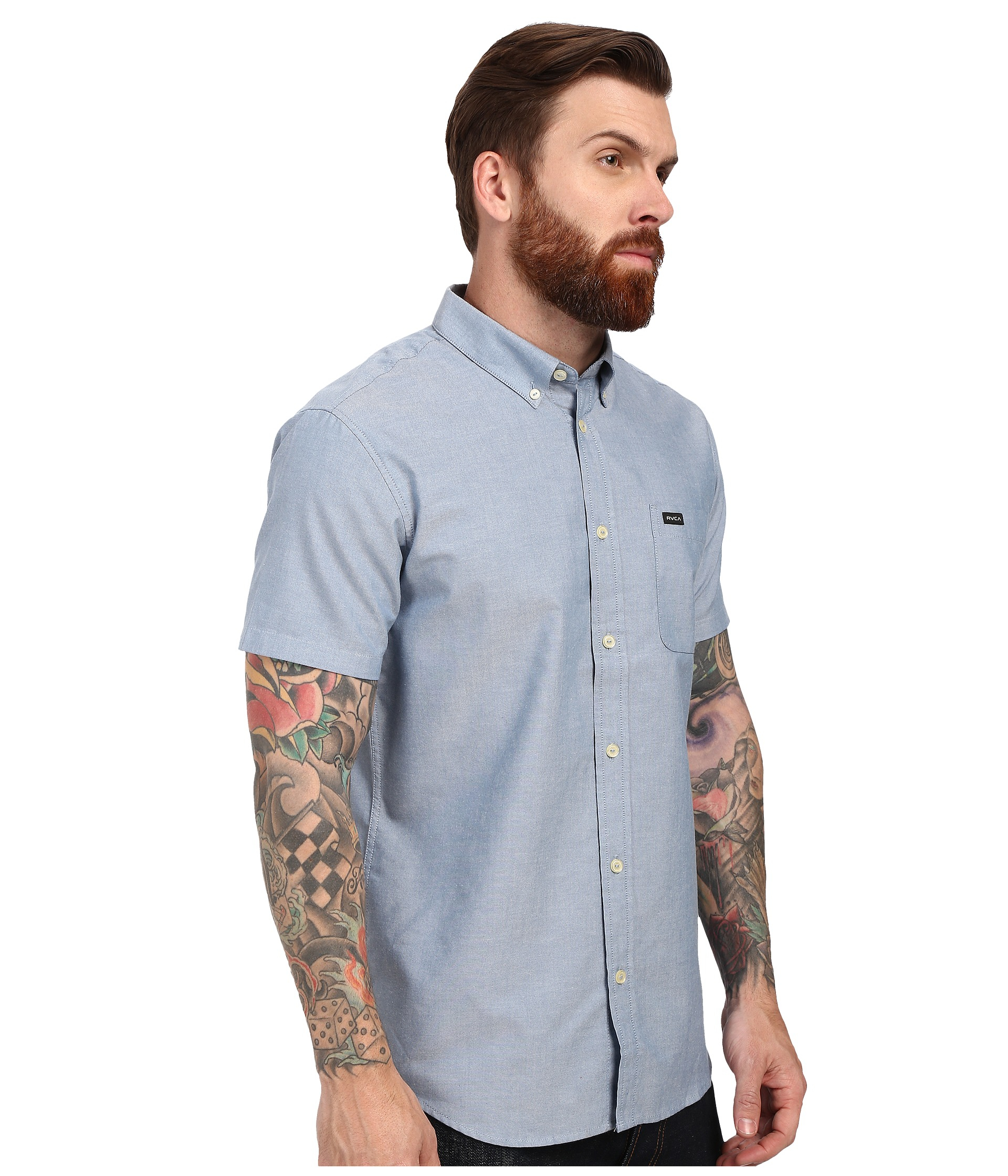 rvca that u0027ll do oxford short sleeve woven in blue for men lyst