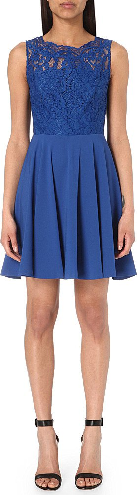 In Crepe Claudie Lyst Rosalianne Pierlot Blue Lace Dress And WARWn6wx0U
