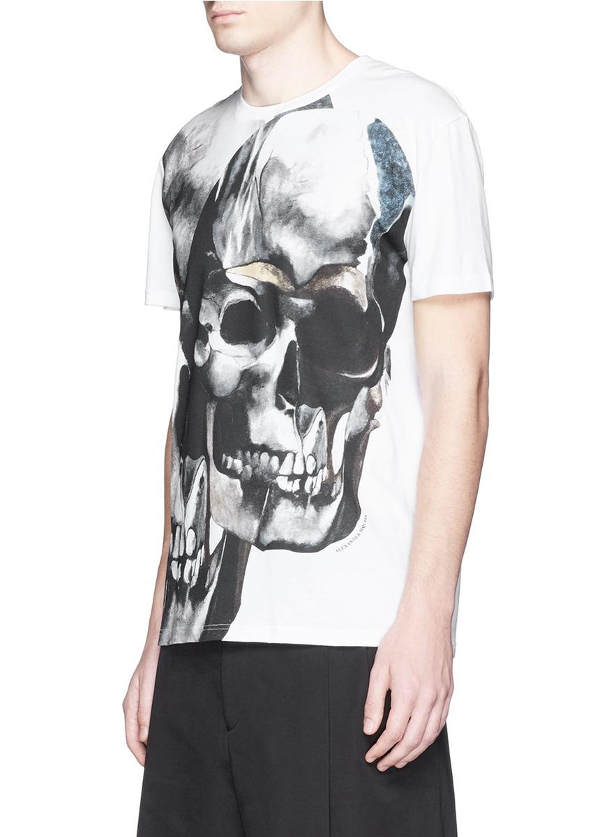 Alexander mcqueen brutalist print t shirt in gray for men for Alexander mcqueen shirt men