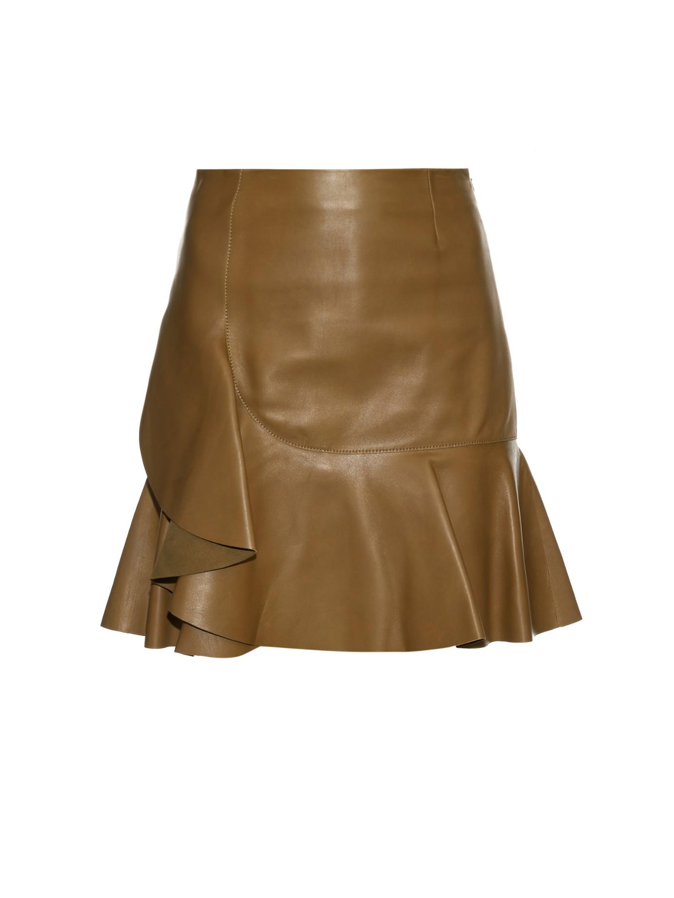 mcqueen asymmetric ruffled leather mini skirt in