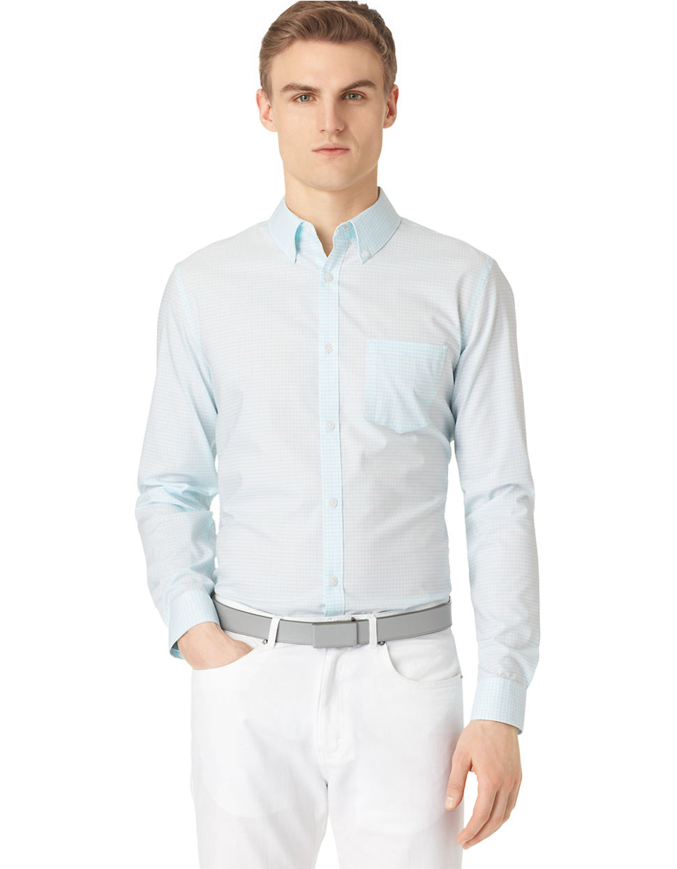 calvin klein checkered sport shirt in blue for men light sea blue. Black Bedroom Furniture Sets. Home Design Ideas