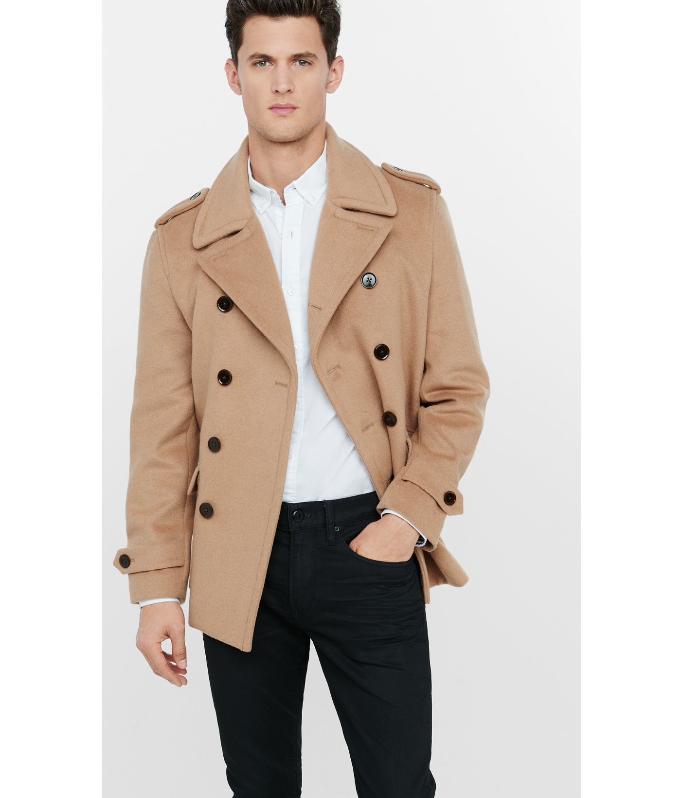 6386c18baa Express Wool Blend Camel Double Breasted Peacoat in Brown for Men - Lyst