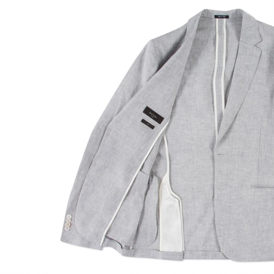 Paul Smith Men S Light Grey Unlined Linen Blazer In Gray
