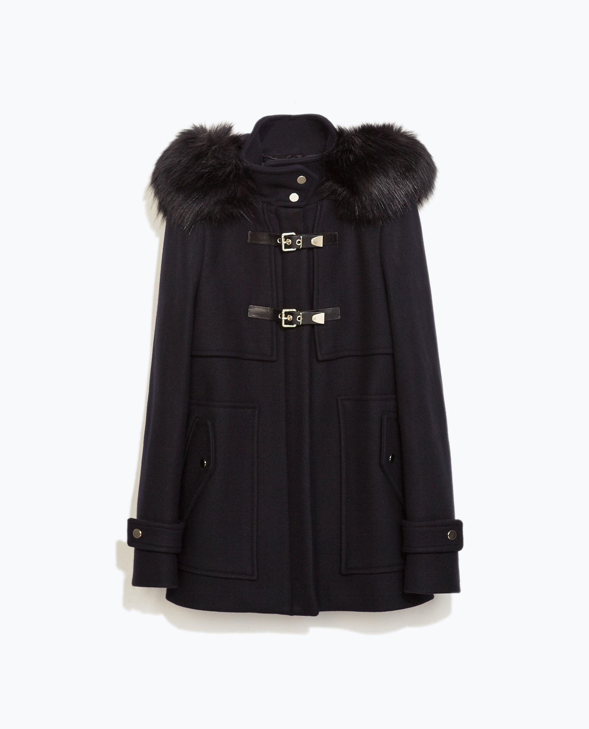 Zara Wool Duffle Coat With Faux Fur Hood In Blue Navy