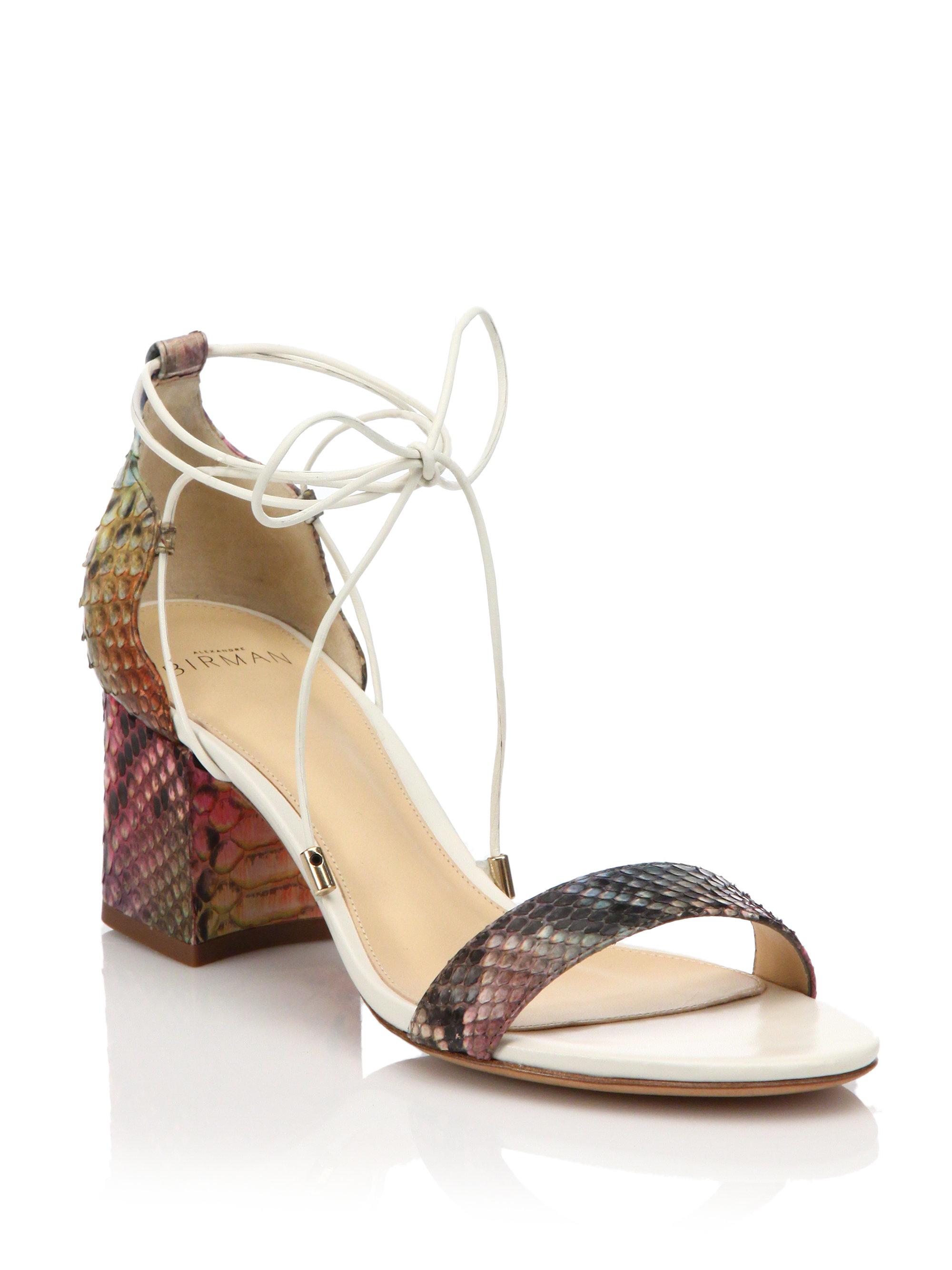 06d8ee3bce Alexandre Birman Rainbow Python Lace-up Mid-heel Sandals - Lyst