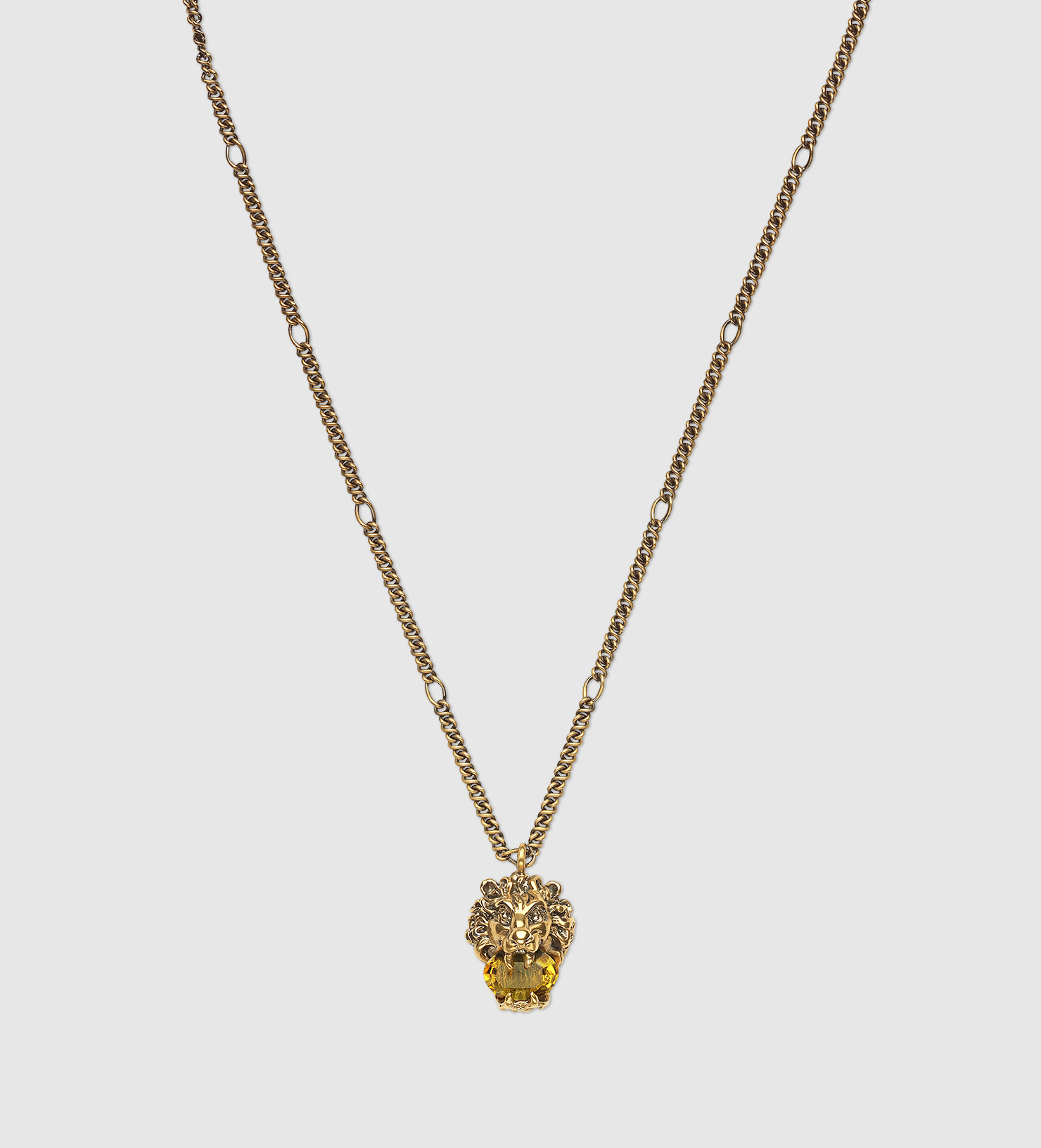 d492b421c2c759 Gucci Lion Head Necklace With Crystal in Metallic - Lyst