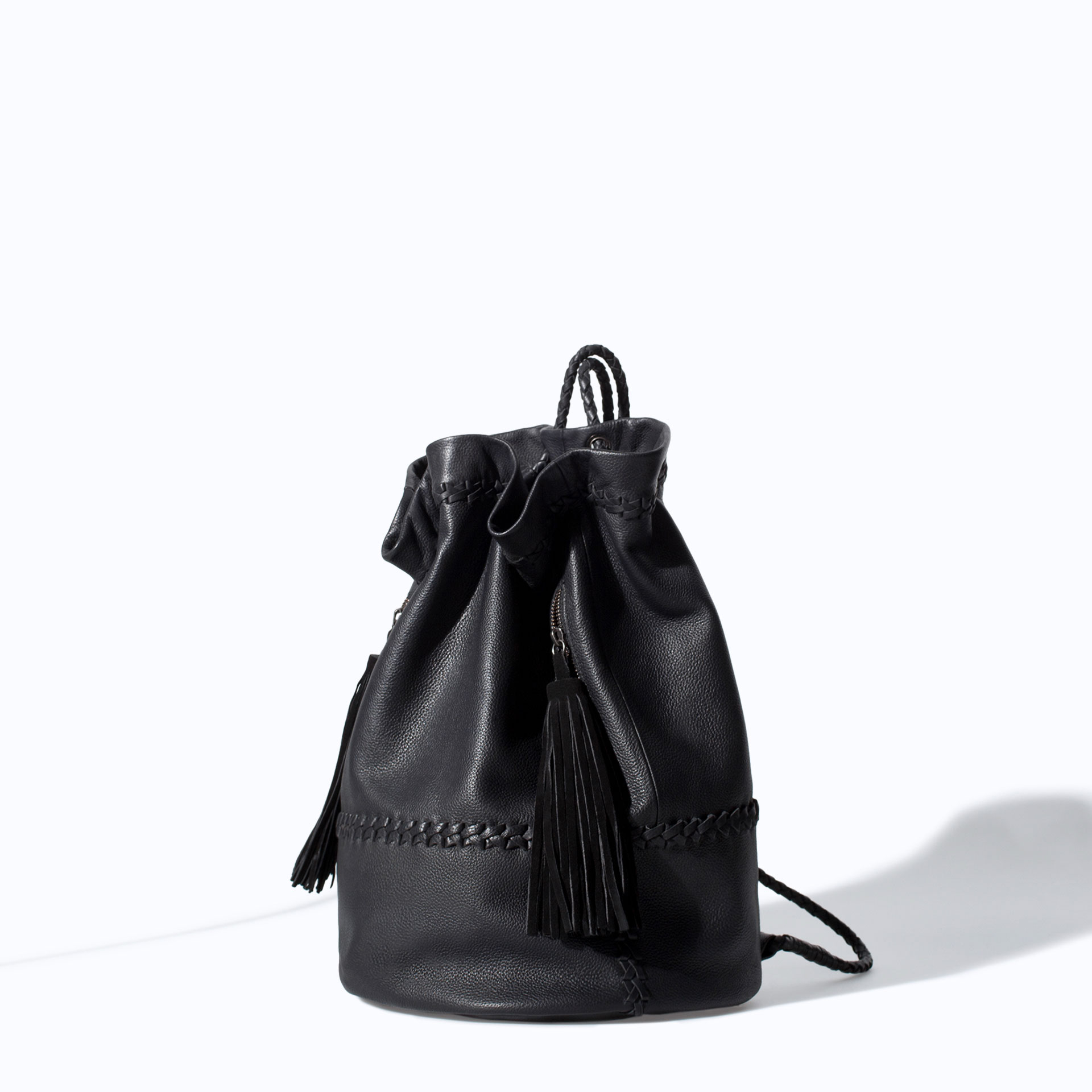 5f529b6c570 Zara Leather Bucket Bag with Tassels in Black