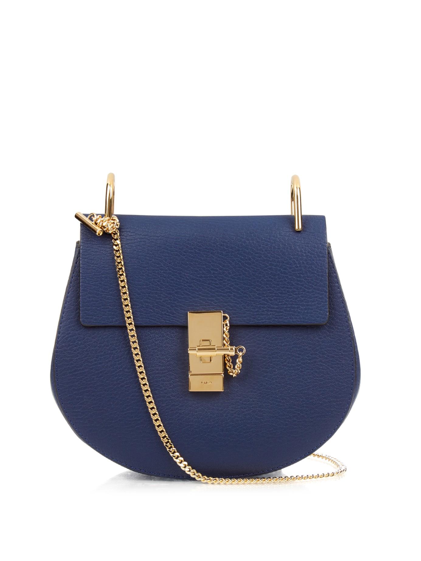 chlo drew small leather shoulder bag in blue lyst. Black Bedroom Furniture Sets. Home Design Ideas