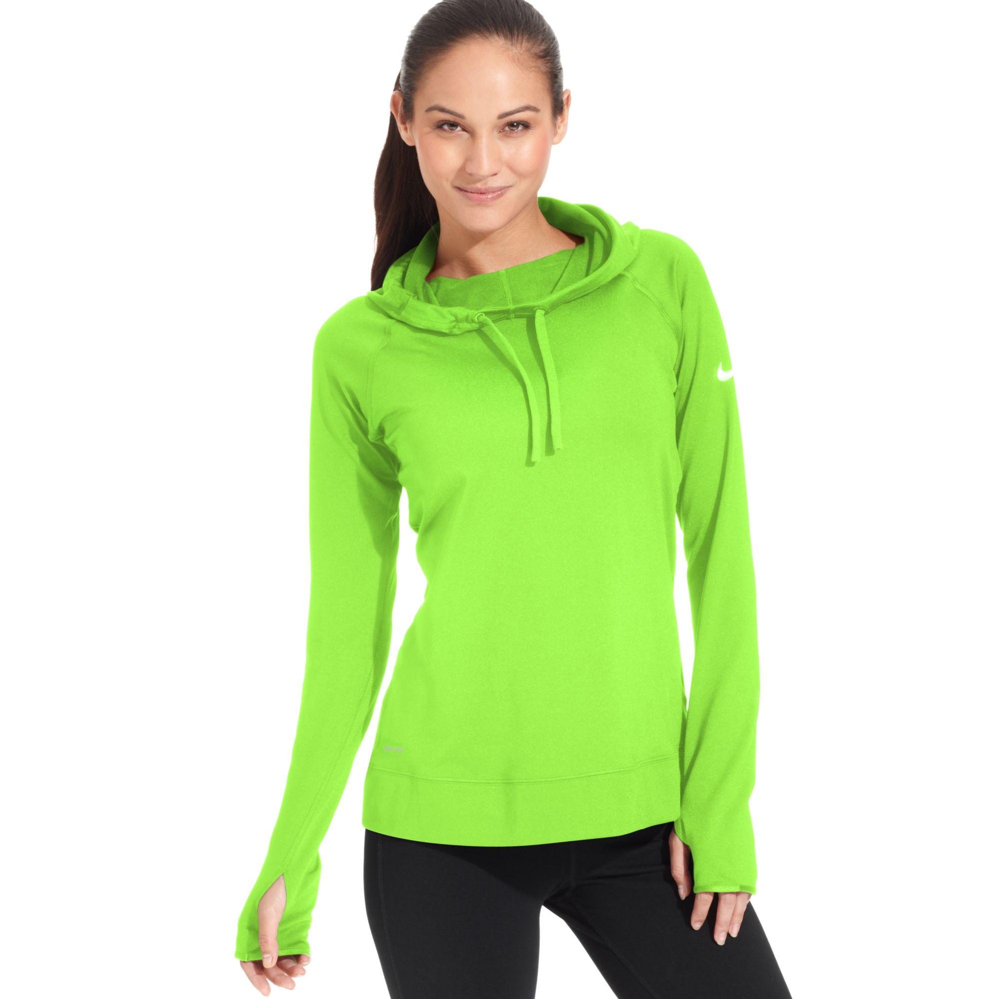 Lyst Nike Pro Hyperwarm Drifit Longsleeve Hoodie In Green