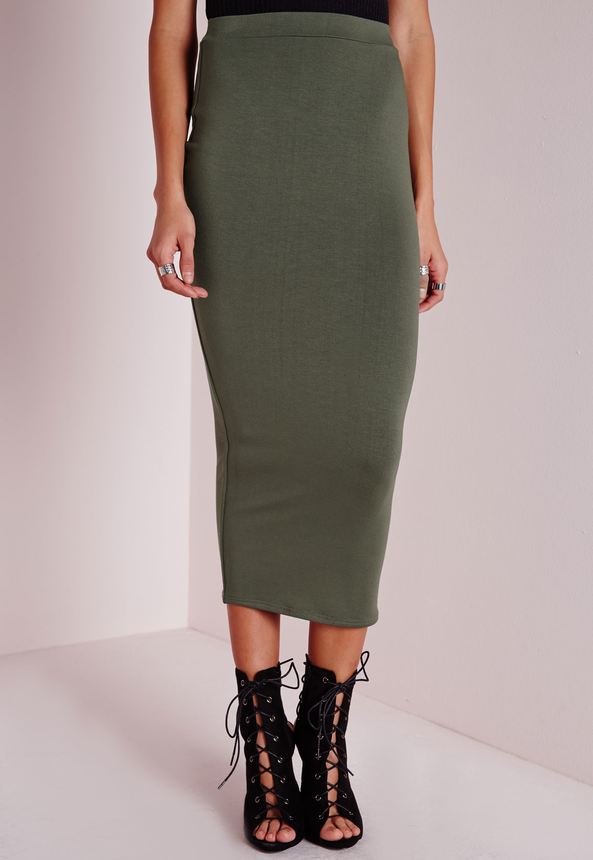 missguided longline jersey midi skirt khaki in green