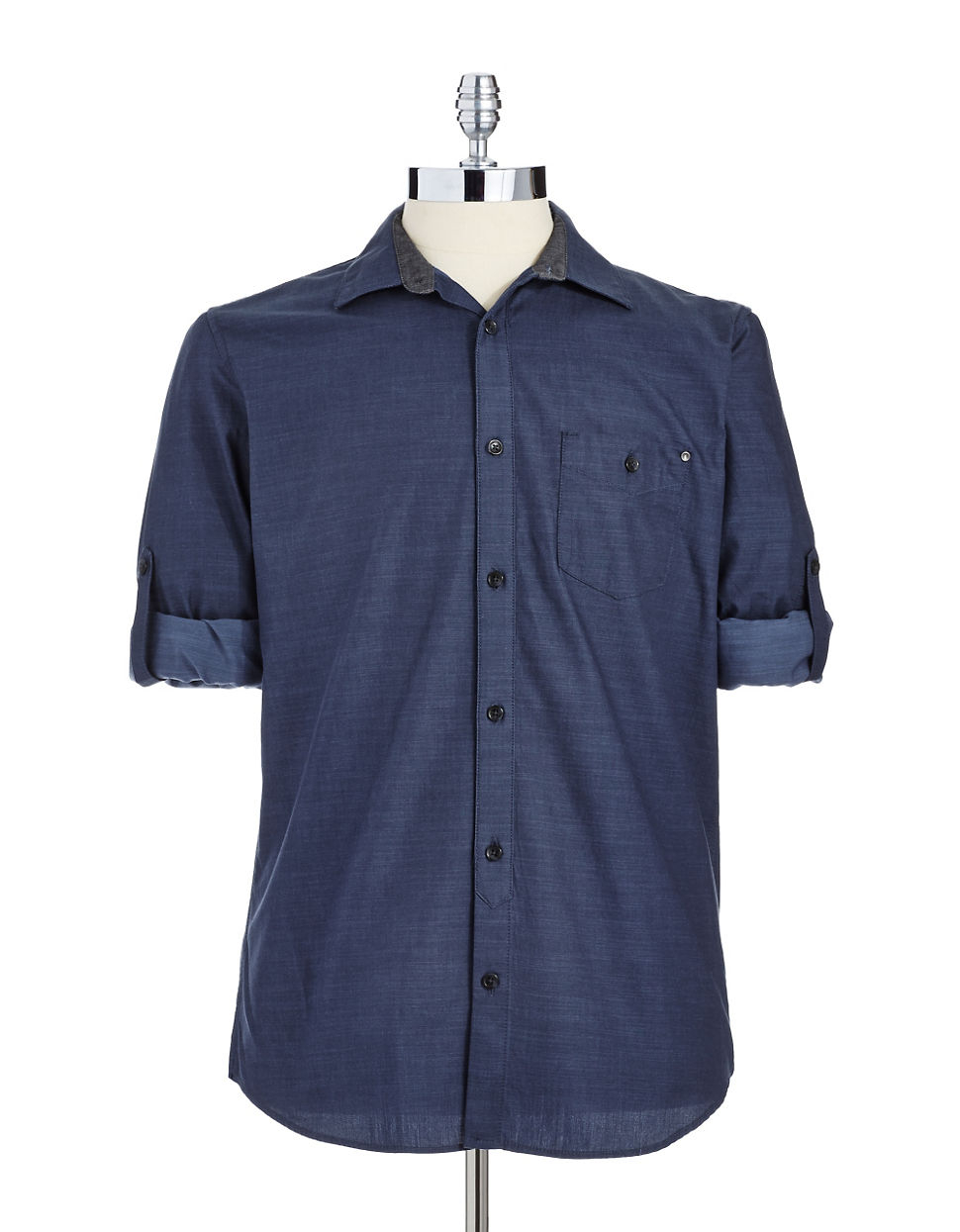 Calvin Klein Jeans Solid Button Down Shirt In Blue For Men