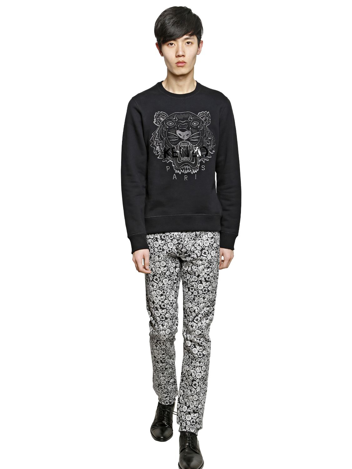 b92adf851ba1 KENZO Tiger Embroidered Cotton Sweatshirt in Black for Men - Lyst