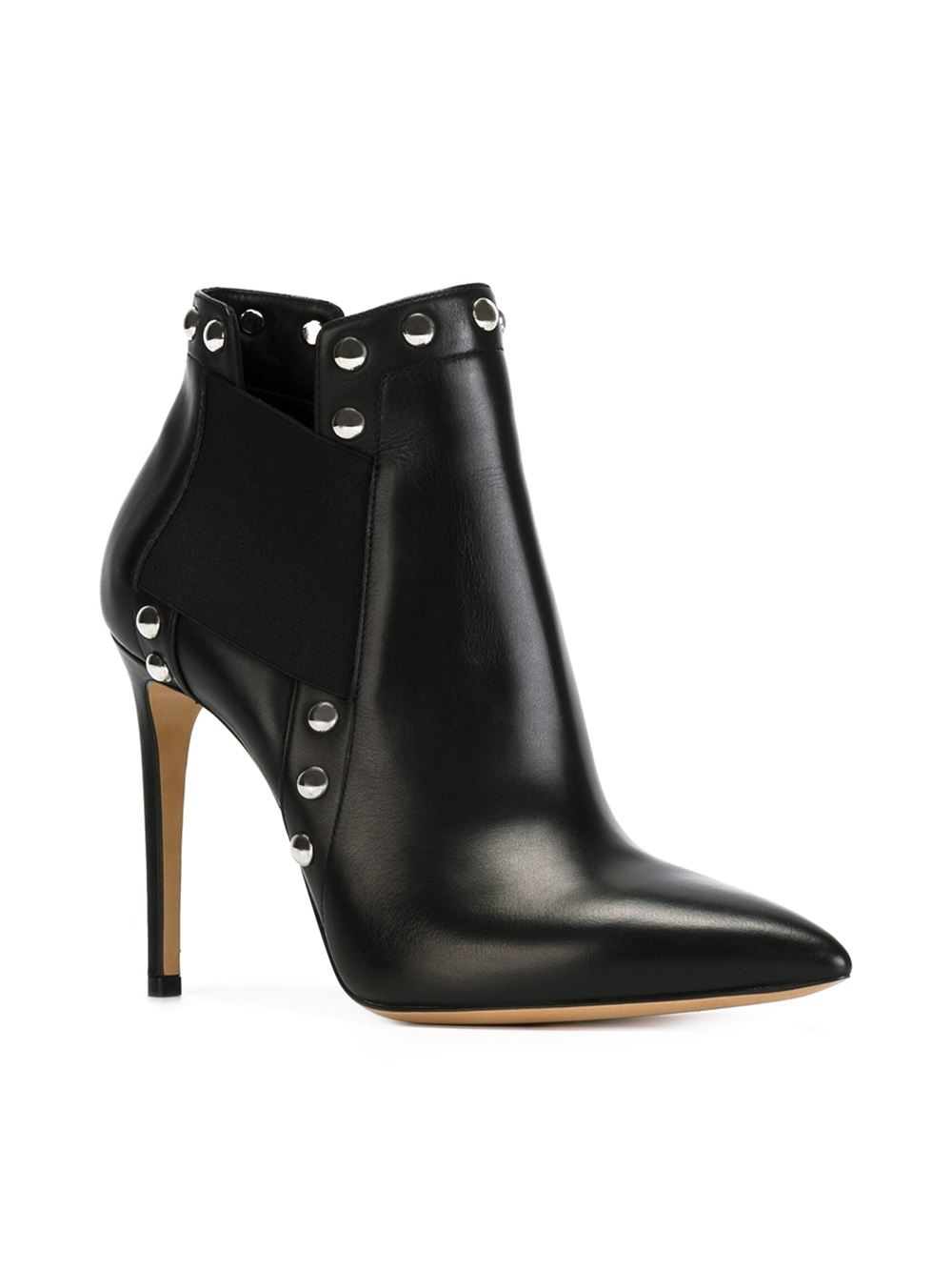 Casadei Studded Ankle Boots In Black Lyst