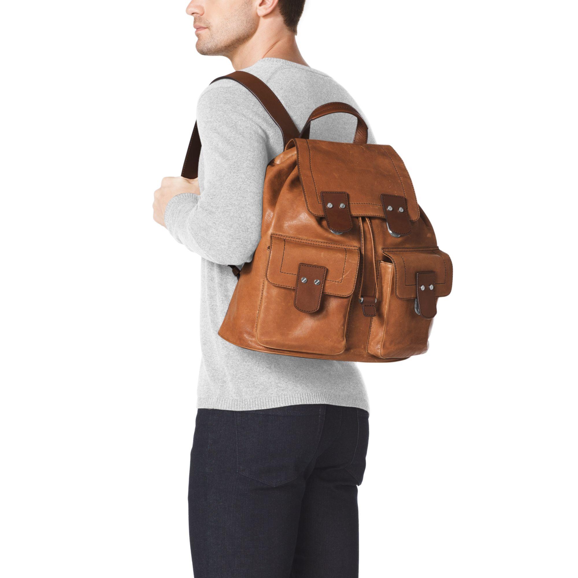 2234ca16ab04 order michael kors mens bryant leather backpack 187fe 58884  wholesale lyst  michael kors wilder vintage leather backpack in brown for men 86772 ad34c