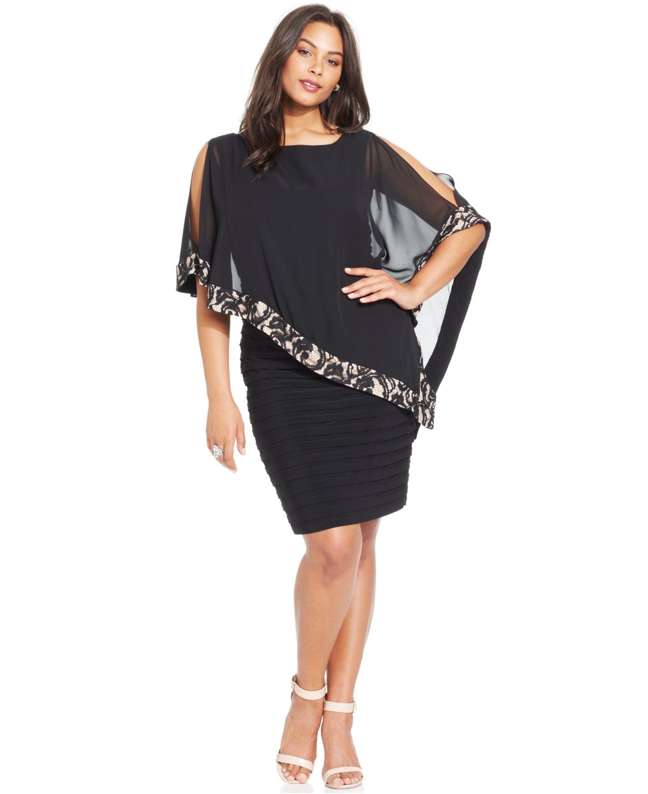 Xscape Plus Size Lace-trim Capelet Dress in Black | Lyst