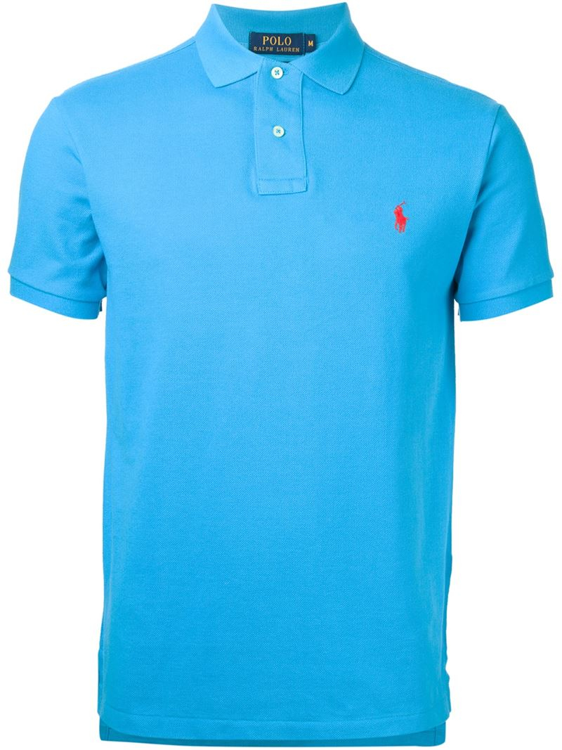 polo ralph lauren slim fit cotton polo shirt in blue for men lyst. Black Bedroom Furniture Sets. Home Design Ideas