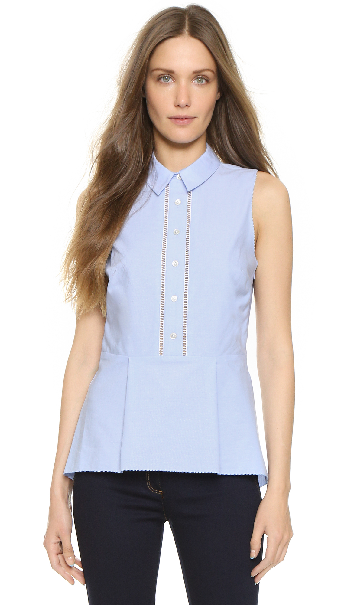 Lyst Veronica Beard Venture Peplum Top Light Blue In Blue