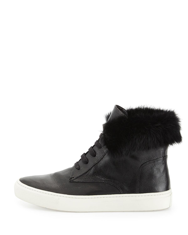 vince nyack leather amp fur hightop sneakers in black lyst