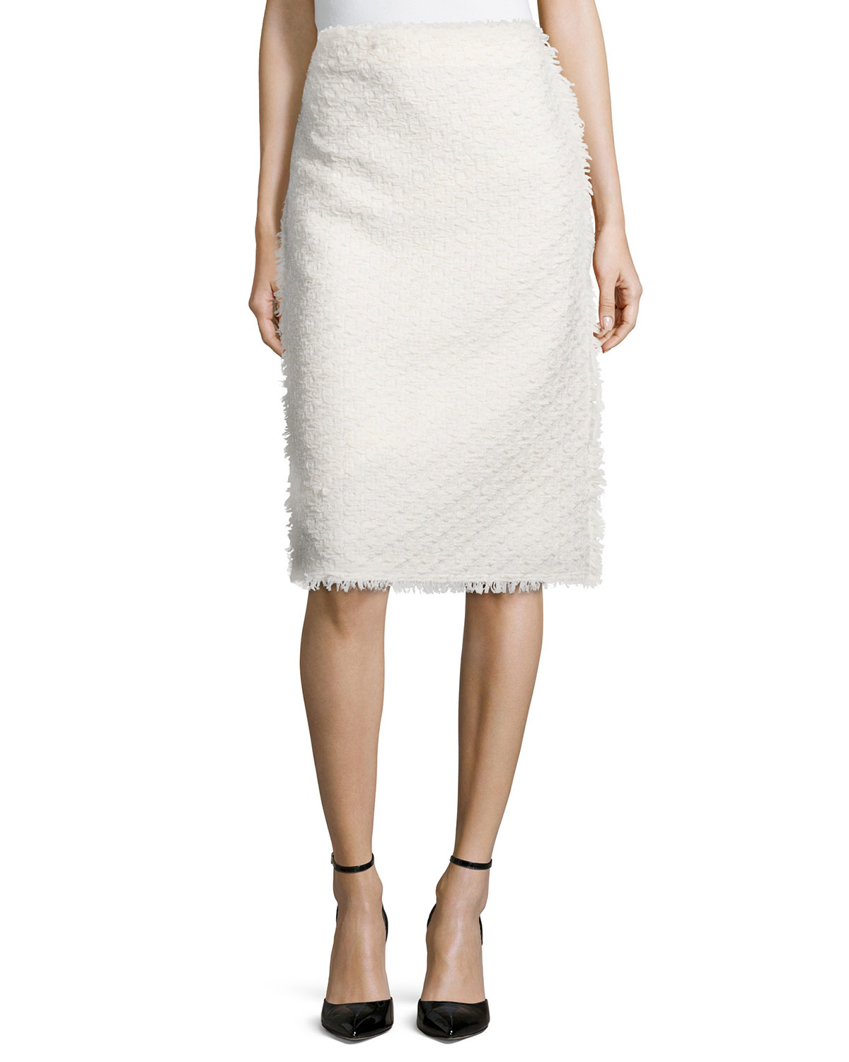 ricci fringe trimmed tweed pencil skirt in white