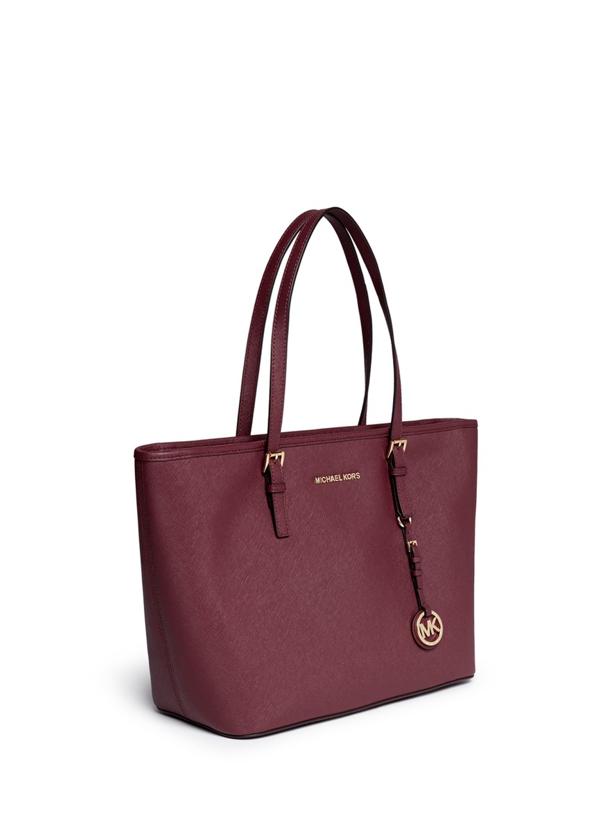 cfcf5faca8d2 Michael Kors Jet Set Travel Saffiano-Leather Tote in Brown - Lyst