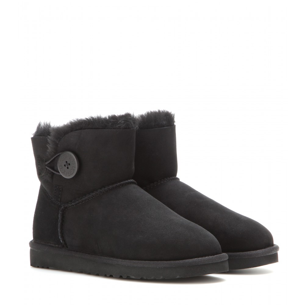 ugg mini bailey button boots in black lyst. Black Bedroom Furniture Sets. Home Design Ideas