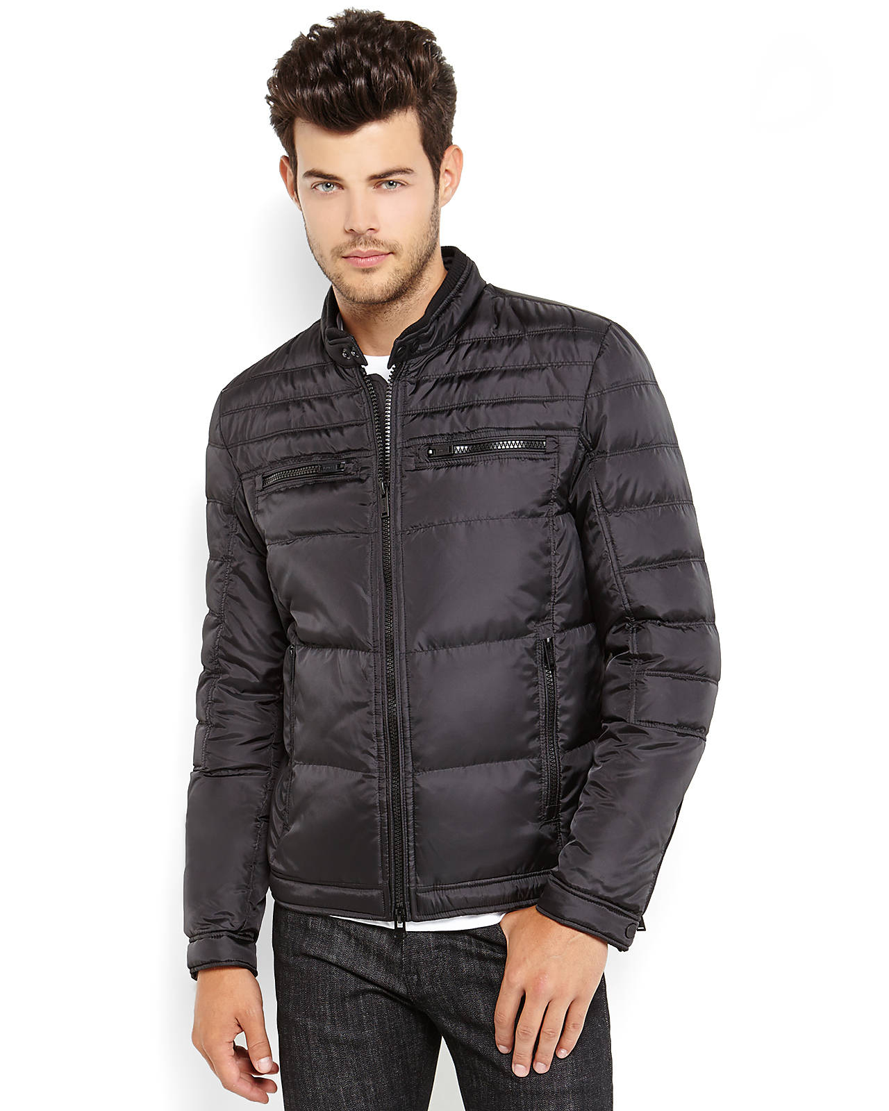 Guess Down Puffer Jacket In Black For Men Lyst