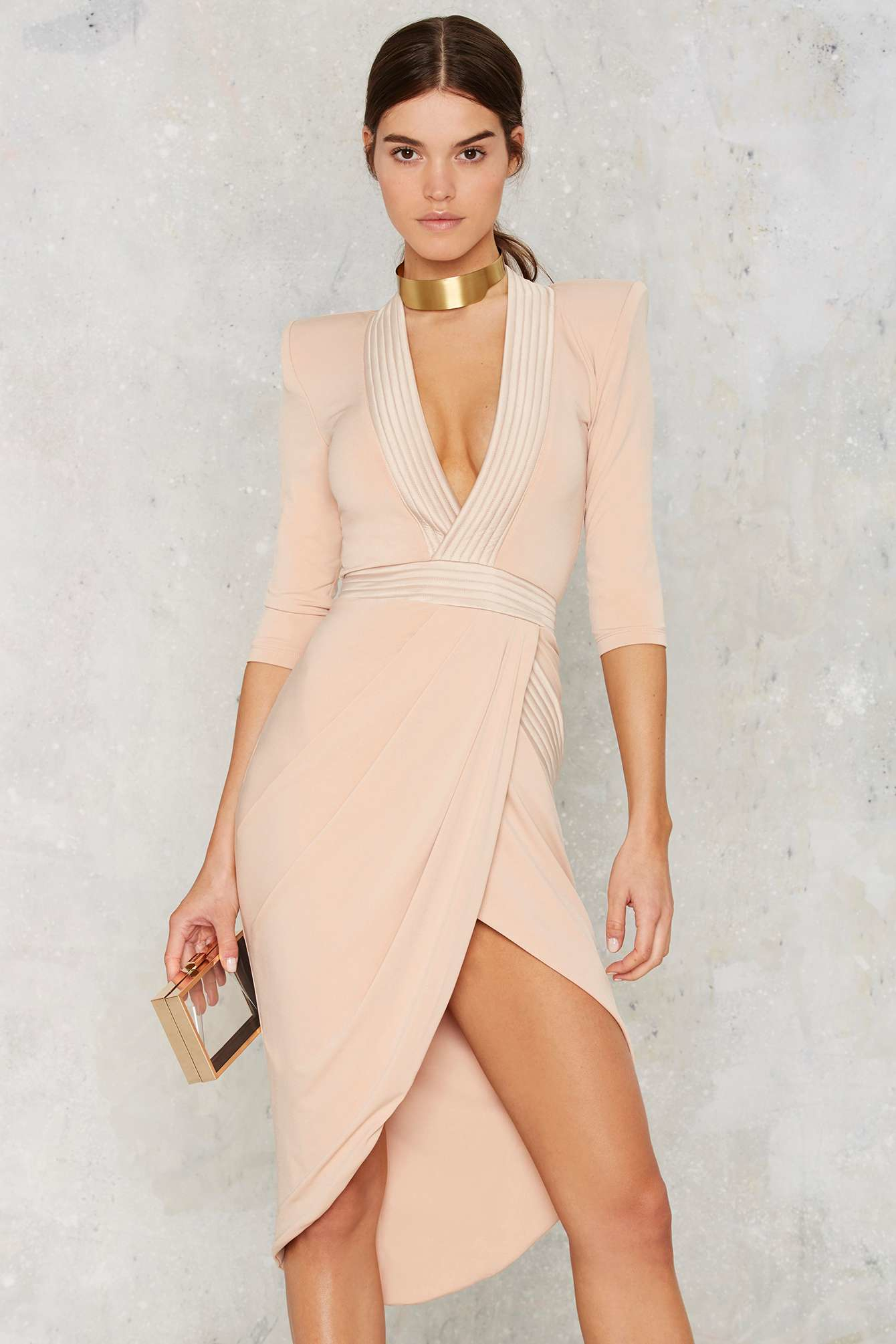 24171075a6dd Zhivago Eye Of Horus Slit Dress - Nude in Natural - Lyst