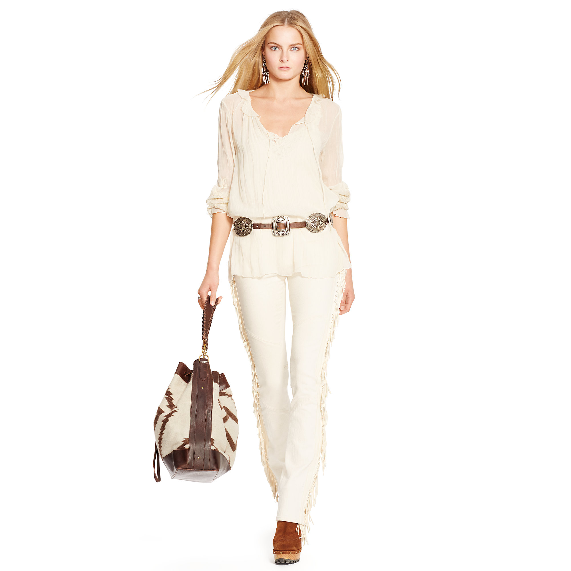 5ca563a55 Polo Ralph Lauren Leather-fringed Bootcut Jean in Natural - Lyst