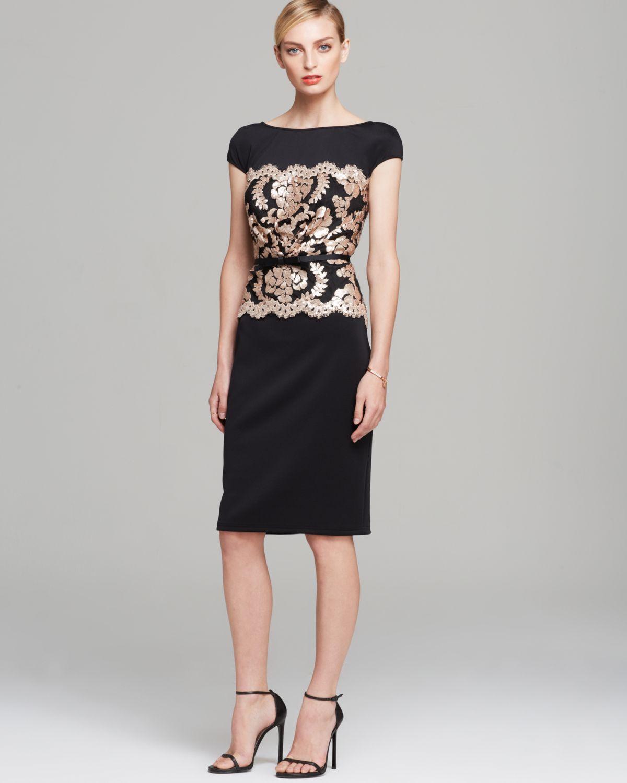 Lyst - Tadashi Shoji Dress - Cap Sleeve Sequin Waist Belted Neoprene ...