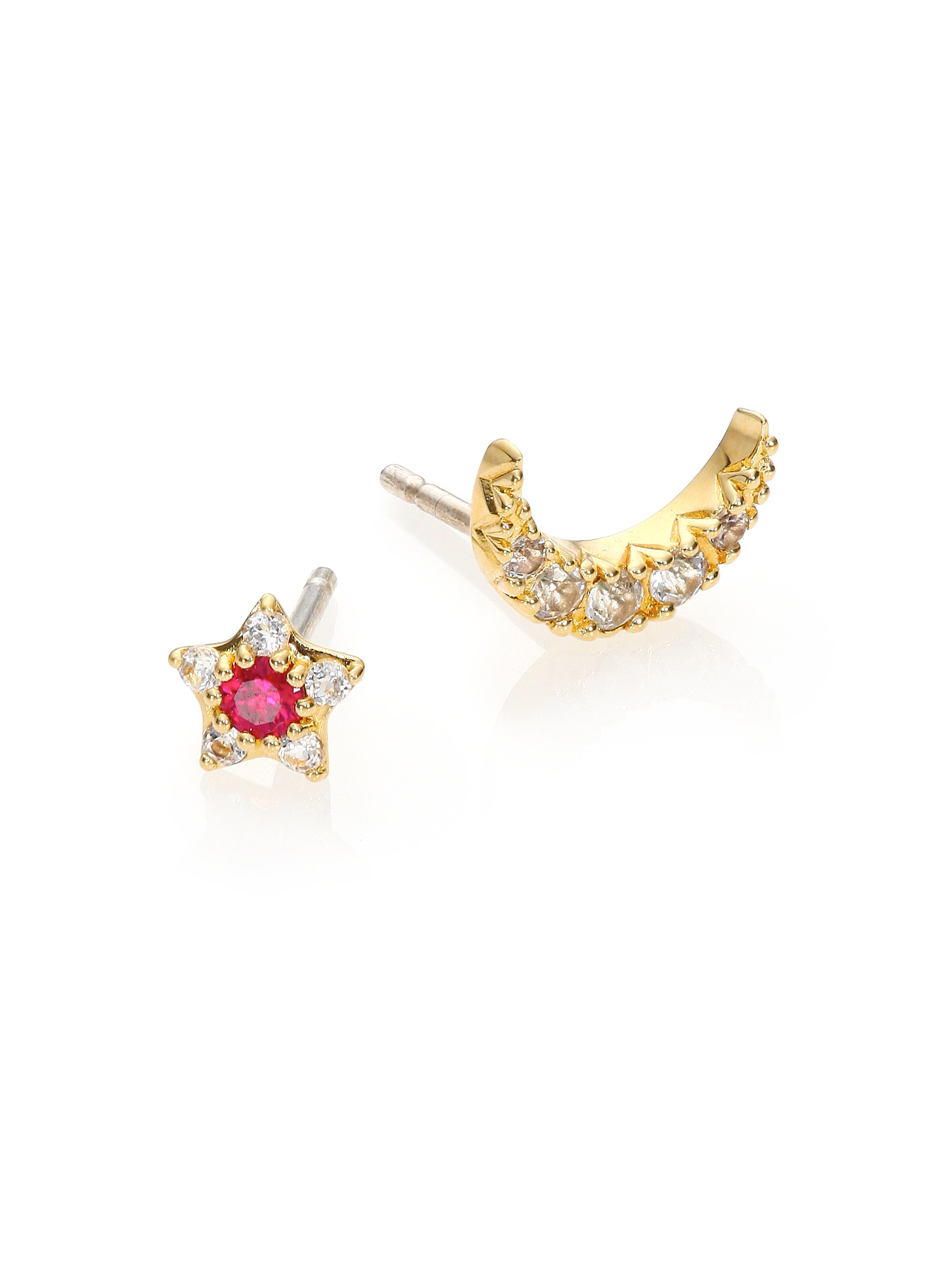 cushion gold cut created earrings ct ruby in stud itm