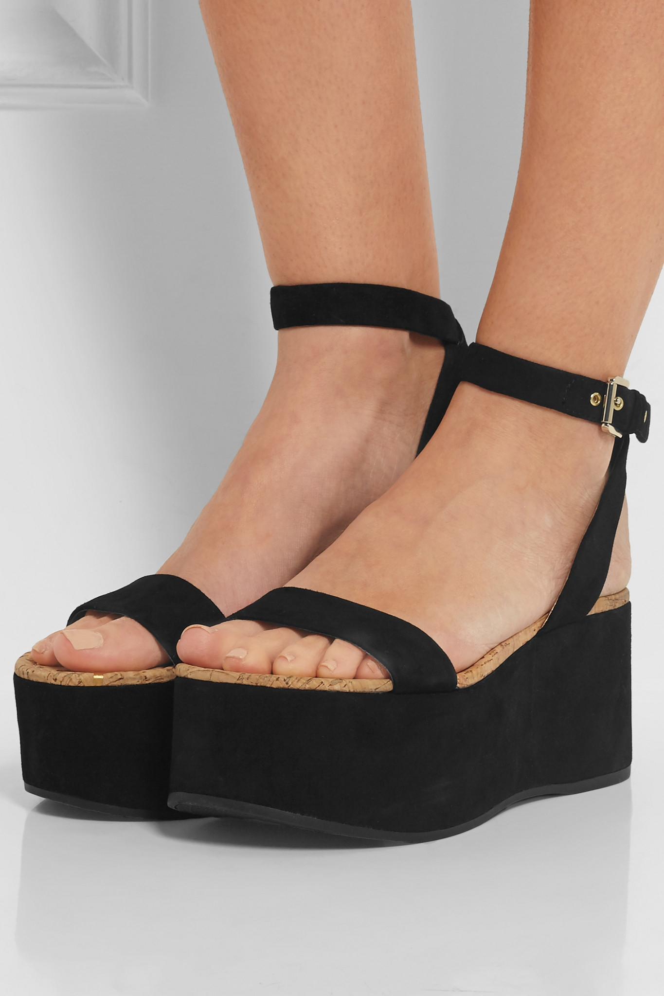f2f4a90cdbc Lyst - Sam Edelman - Henley Suede Platform Sandals - Black in Black