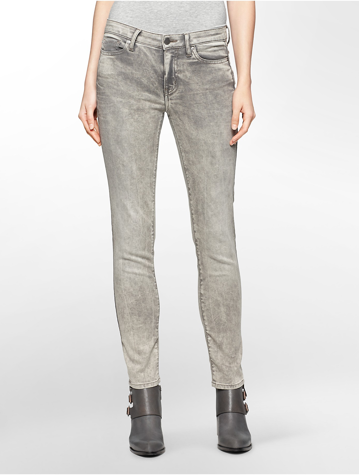 Calvin klein Jeans Ultimate Skinny Painted Brushed Distressed Grey ...