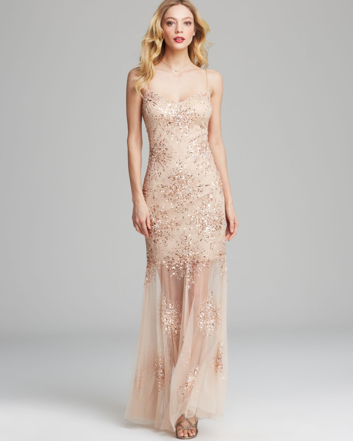 Aidan mattox Gown - Sleeveless Starburst Beaded With Sheer Hem in ...