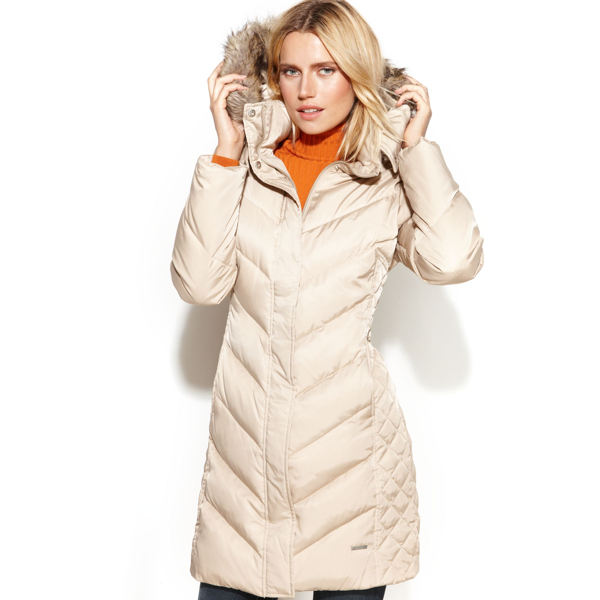 Kenneth cole reaction Petite Hooded Faux-Fur-Trim Down Puffer Coat ...