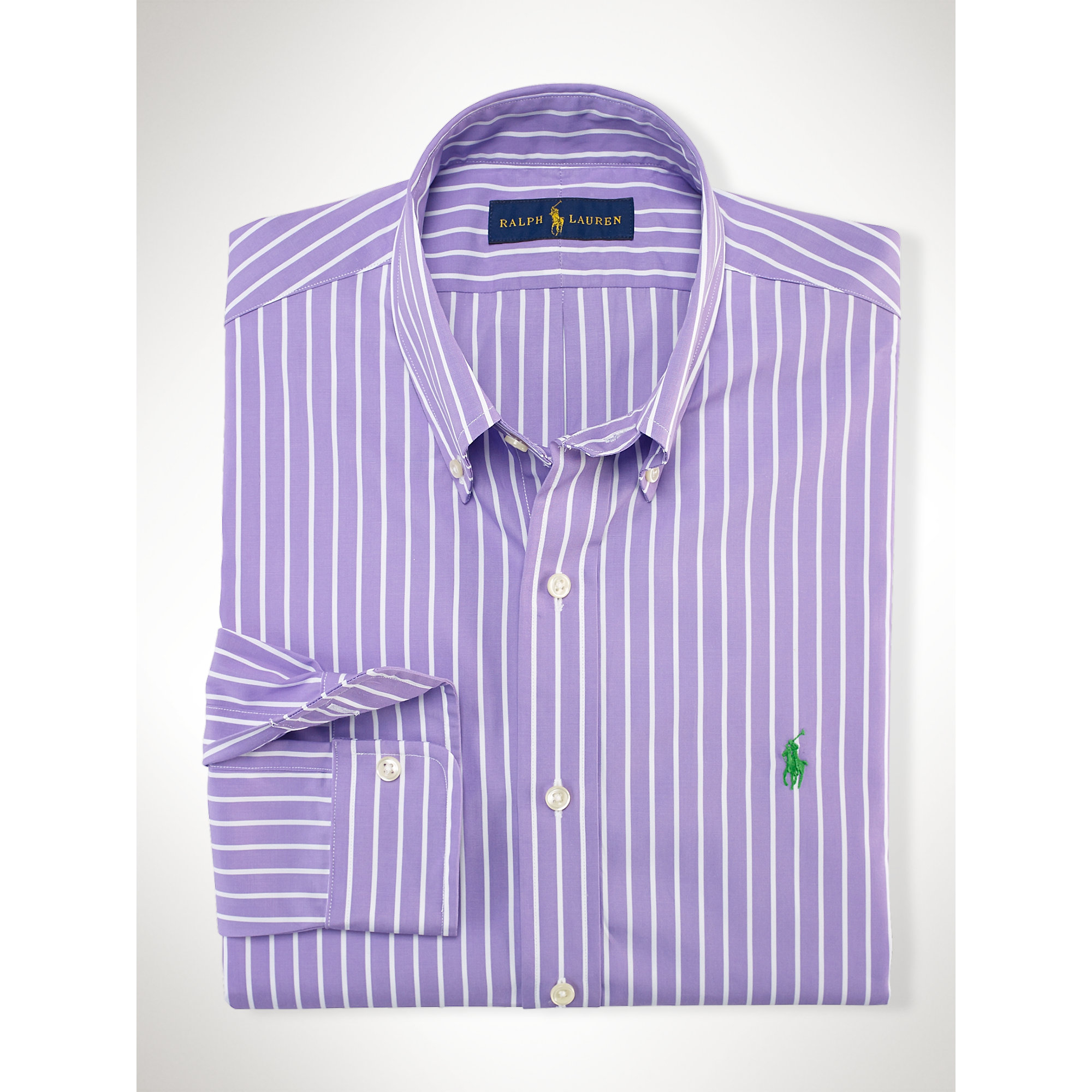 Polo ralph lauren slim fit striped poplin shirt in purple for Purple and black striped t shirt