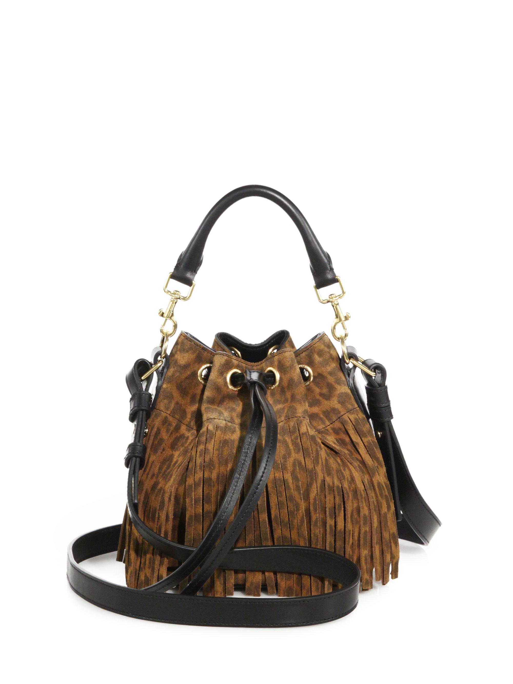 ysl outlet usa - Saint laurent Small Leopard-print Suede Fringe Bucket Bag in ...