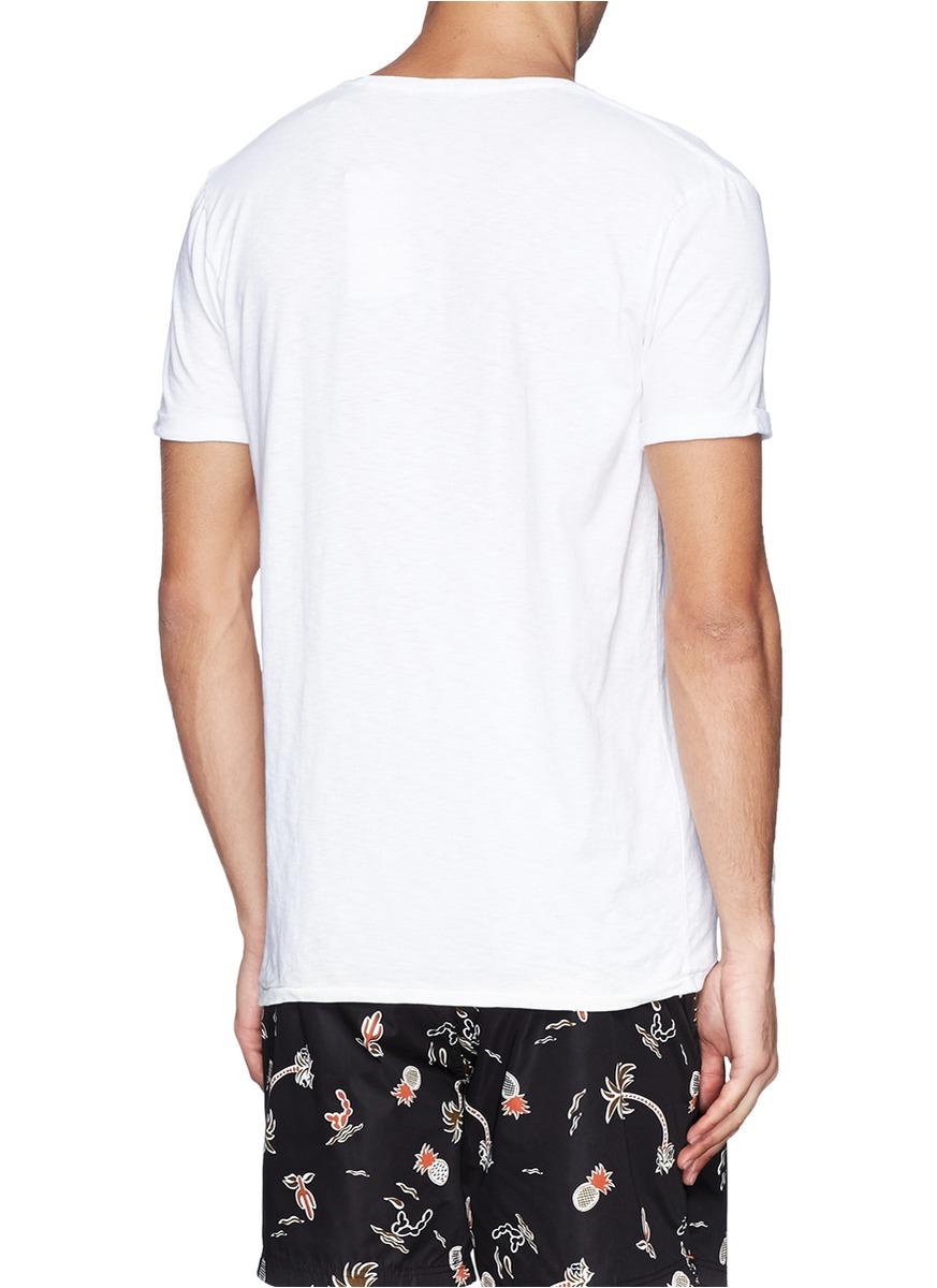 Scotch soda floral slogan print slub cotton jersey t for Vista print tee shirt
