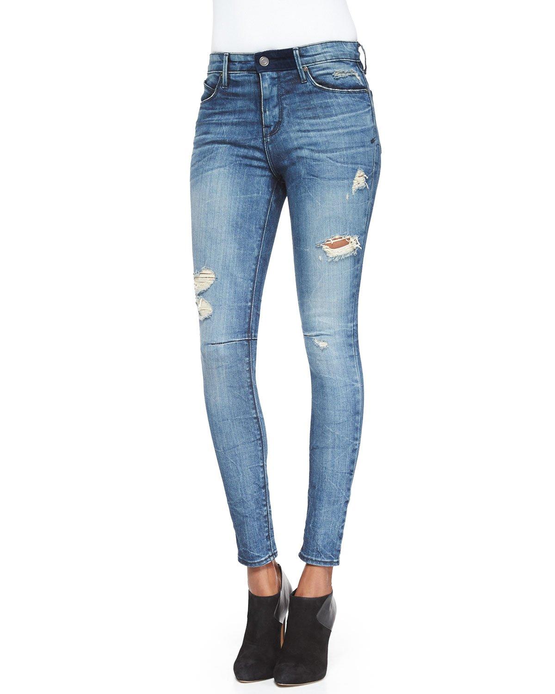 Rta High-Waist Distressed Denim Jeans in Blue | Lyst
